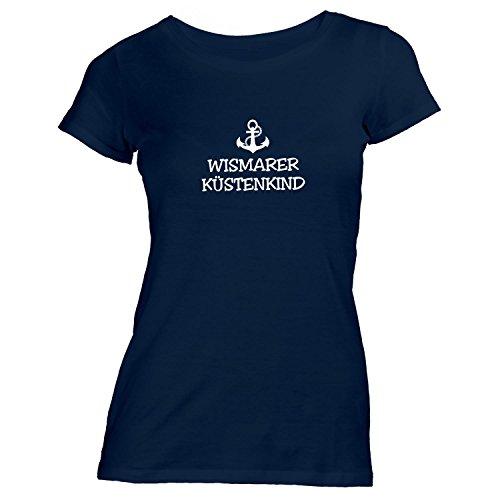 Damen T-Shirt - Wismarer Küstenkind - Anker Wismar Schiffsanker Küste Maritim, Navy, XL