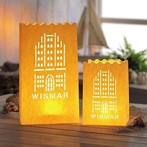 LUMINARIA 10930051988 Lichtertüte Wismar - 4er Set, Windlicht, Papier/Pappe/Zellstoff, Weiß