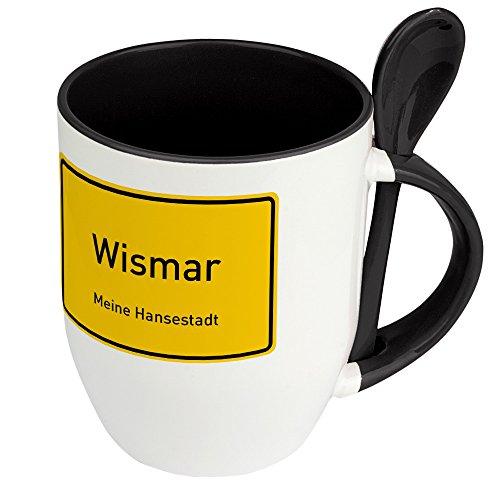 Städtetasse Wismar - Löffel-Tasse mit Motiv Ortsschild - Becher, Kaffeetasse, Kaffeebecher, Mug - Schwarz