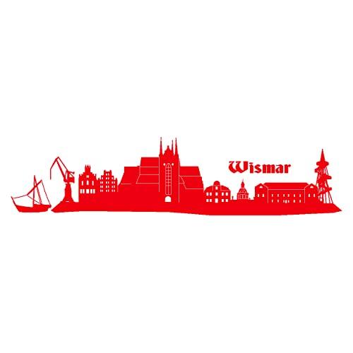 Wismar Wandtattoo Stadt Collage Wismar Wandsticker in 6 Größen und 19 Farben (120x28cm hellrot)
