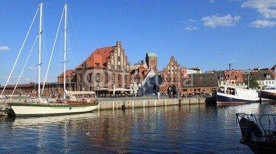 """Leinwand-Bild 110 x 60 cm: """"Partie am Alten Hafen in Wismar"""", Bild auf Leinwand"""