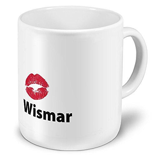XXL Jumbo-Städtetasse Wismar - XXL Jumbotasse mit Design Kussmund - Städte-Tasse, Städte-Krug, Becher, Mug