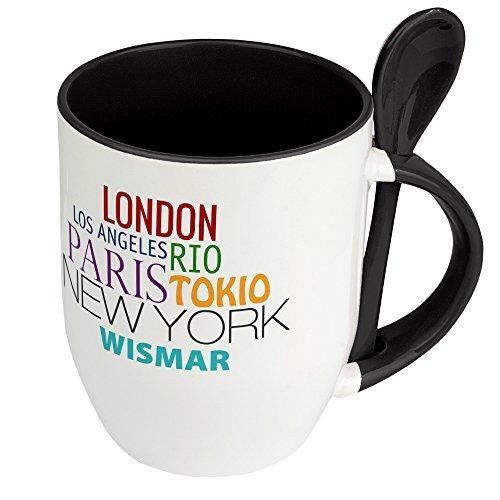 Städtetasse Wismar - Löffel-Tasse mit Motiv Famous Cities in the World - Becher, Kaffeetasse, Kaffeebecher, Mug - Schwarz