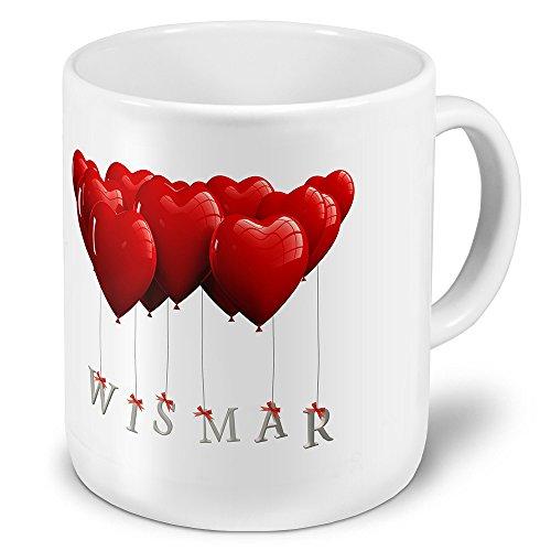 XXL Jumbo-Städtetasse Wismar - XXL Jumbotasse mit Design Herzballons - Städte-Tasse, Städte-Krug, Becher, Mug