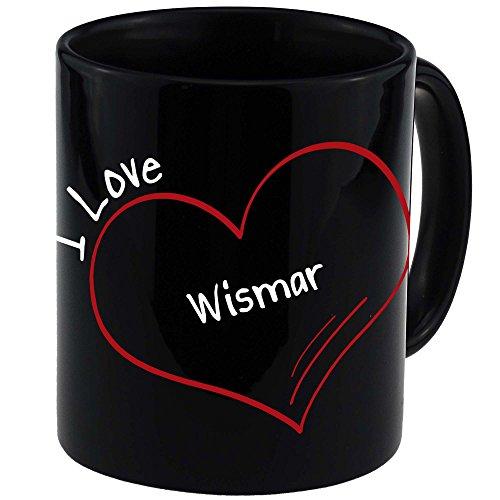 Tasse Modern I Love Wismar schwarz